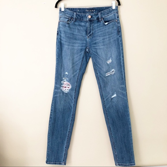 White House Black Market Denim - WHBM Distressed Embroidered Patch Skinny Jeans